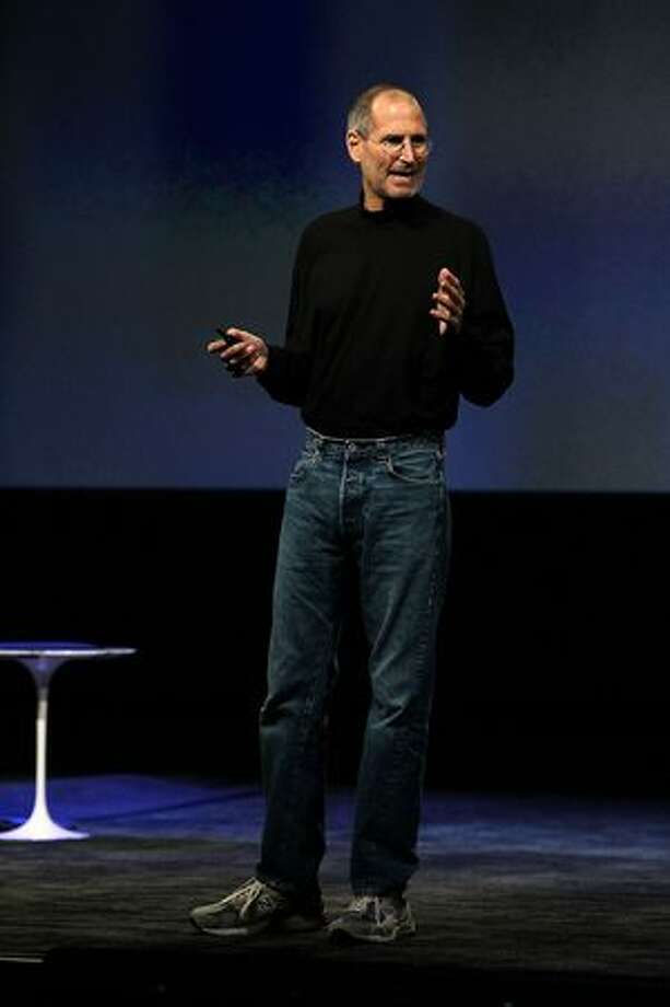 Apple CEO Steve Jobs speaks during an Apple special event Jan. 27 at the Yerba Buena Center for the Arts in San Francisco. Apple introduced its latest creation, the iPad, a mobile tablet browsing device that is a cross between the iPhone and a MacBook laptop. Photo: Getty Images