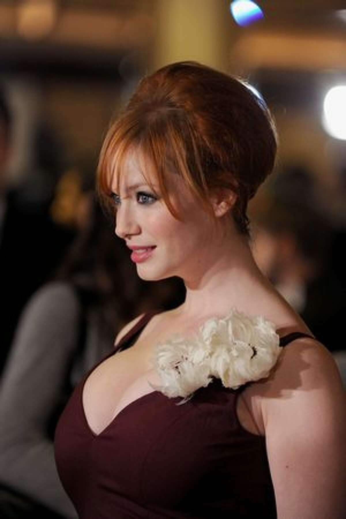 Actress Christina Hendricks arrives at the 62nd annual Directors Guild Of America Awards at the Hyatt Regency Century Plaza in Century City, Calif., on Saturday, Jan. 30, 2010.