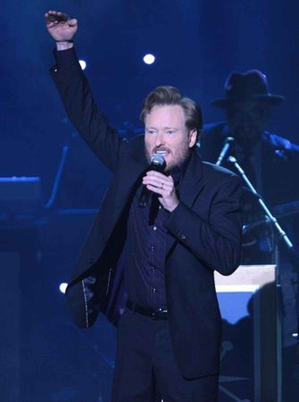 Comedian Conan O'Brien performs.