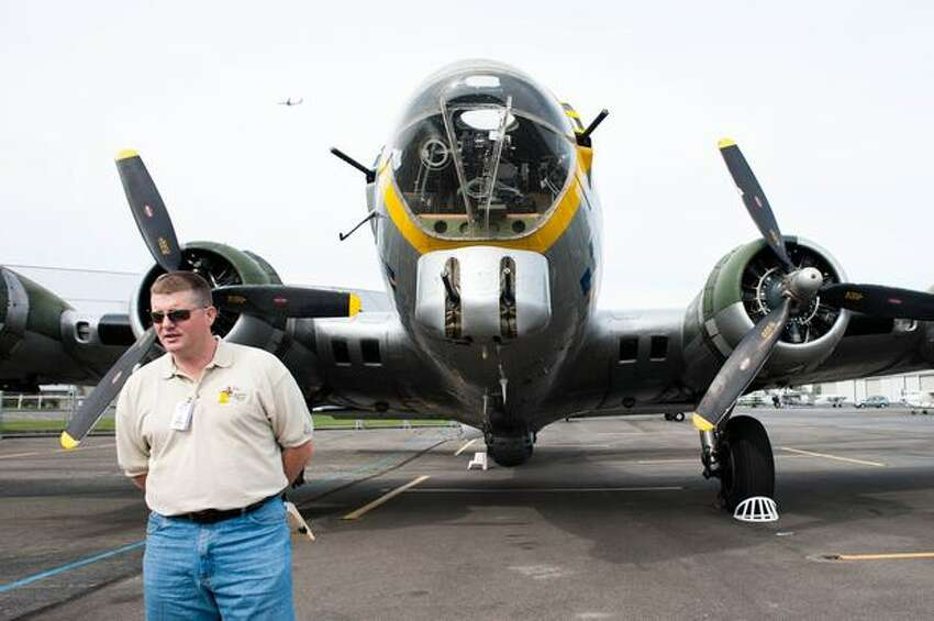 Liberty Foundation pilot John Shuttleworth gives a brief history of the foundation's restored Boeing B-17 bomber