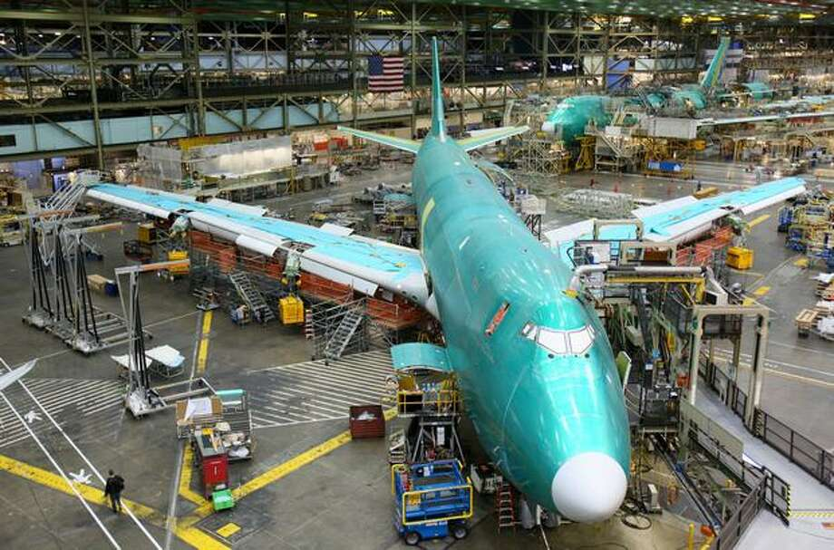 A 747-8 on the assembly line in the Boeing factory in Everett. Photo: Joshua Trujillo, Seattlepi.com