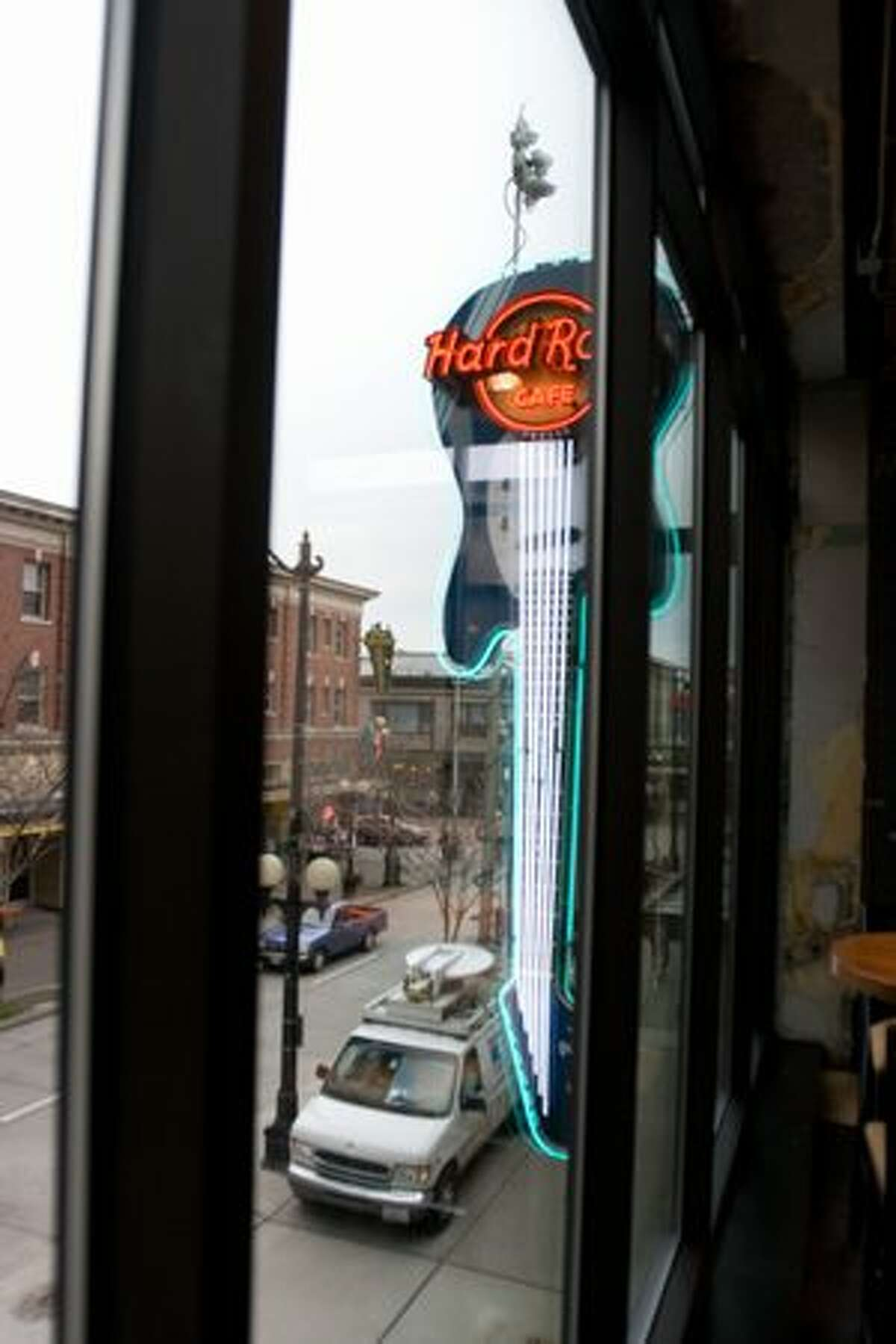 View from the second floor of the Hard Rock Cafe in Seattle towards Pike Place Market. (Humberto Martínez/seattlepi.com)