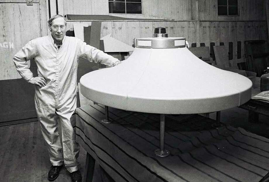 Dante Vaghi, stands by a spaceship that he created in this 1982 News-Times file photo. Photo: File Photo/ David W. Harple, File Photo / The News-Times File Photo