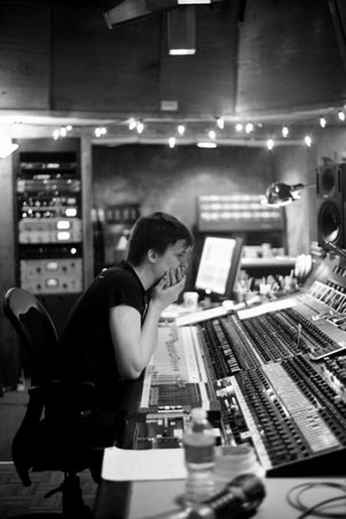 Chris Walla of Death Cab for Cutie at work recording The Lonely Forest at Sound City Studios in California.