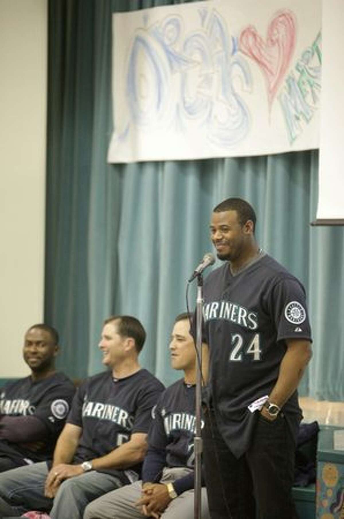 Seattle Mariner Ken Griffey, Jr. speaks to students during a visit by members of the team to Lakeridge Elementary School.