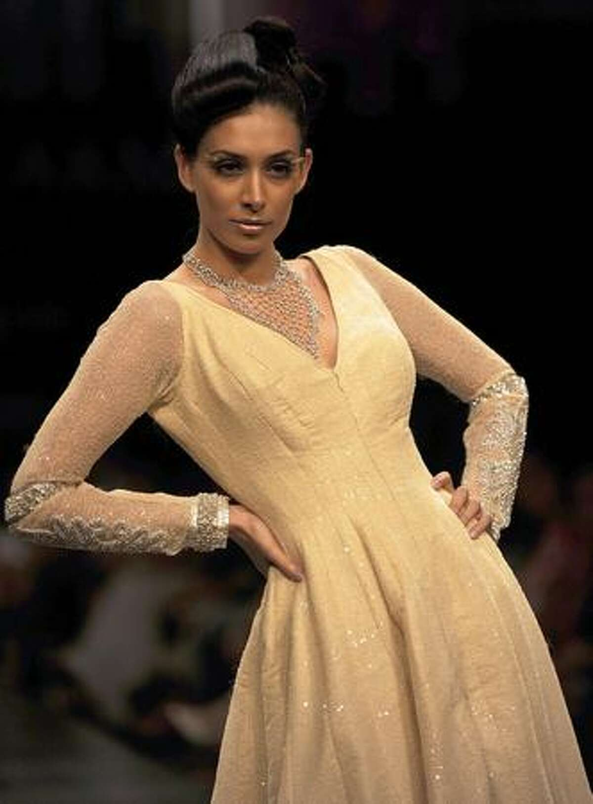 A model showcases a creation by designer Neeta Lulla on the first day of Lakme Fashion Week (LFW) 2009 in Mumbai.