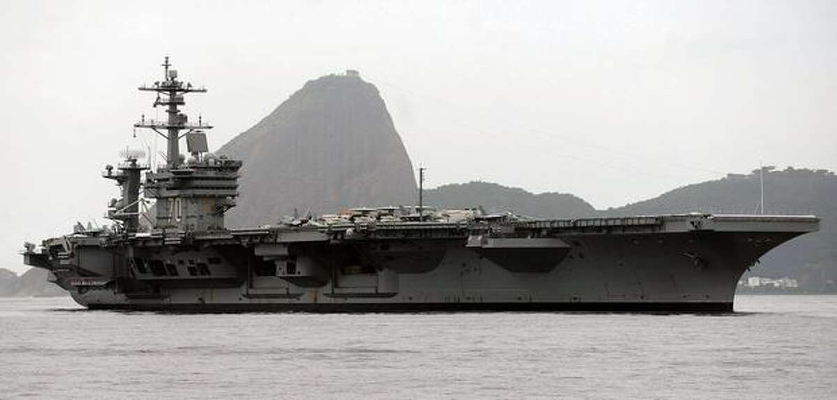 The USS Carl Vinson arrives at Guanabara Bay in Rio de Janeiro, Brazil, coming from Haiti. The Carl Vinson carries Boeing F/A-18E/F Super Hornet fighters, similar to those Boeing offered to Brazil's Air Force in August 2009.
