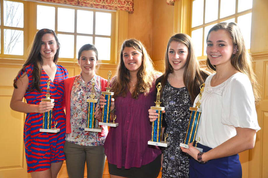 The Weston girls basketball team recently bestowed awards to five players through its booster club. The recipients are, from left, sophomore Anna Mahony, Most Improved Player; senior tri-captain Hannah Hutchins, Senior Leadership Award; senior tri-captain Dakota Sloop, Legacy Award; senior tri-captain Christina Welsh, Team MVP; and junior Ellie Martin, Coach's Award. Photo: Contributed Photo / Dineen Farley