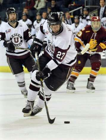 Union College's #27 Jeremy Welsh intercepts a pass, during NCAA hockey tournament action against Minnesota Deluth at the Webster Bank Arena at Harbor Yard in Bridgeport on Wednesday March 25, 2011. Photo: Christian Abraham / Connecticut Post