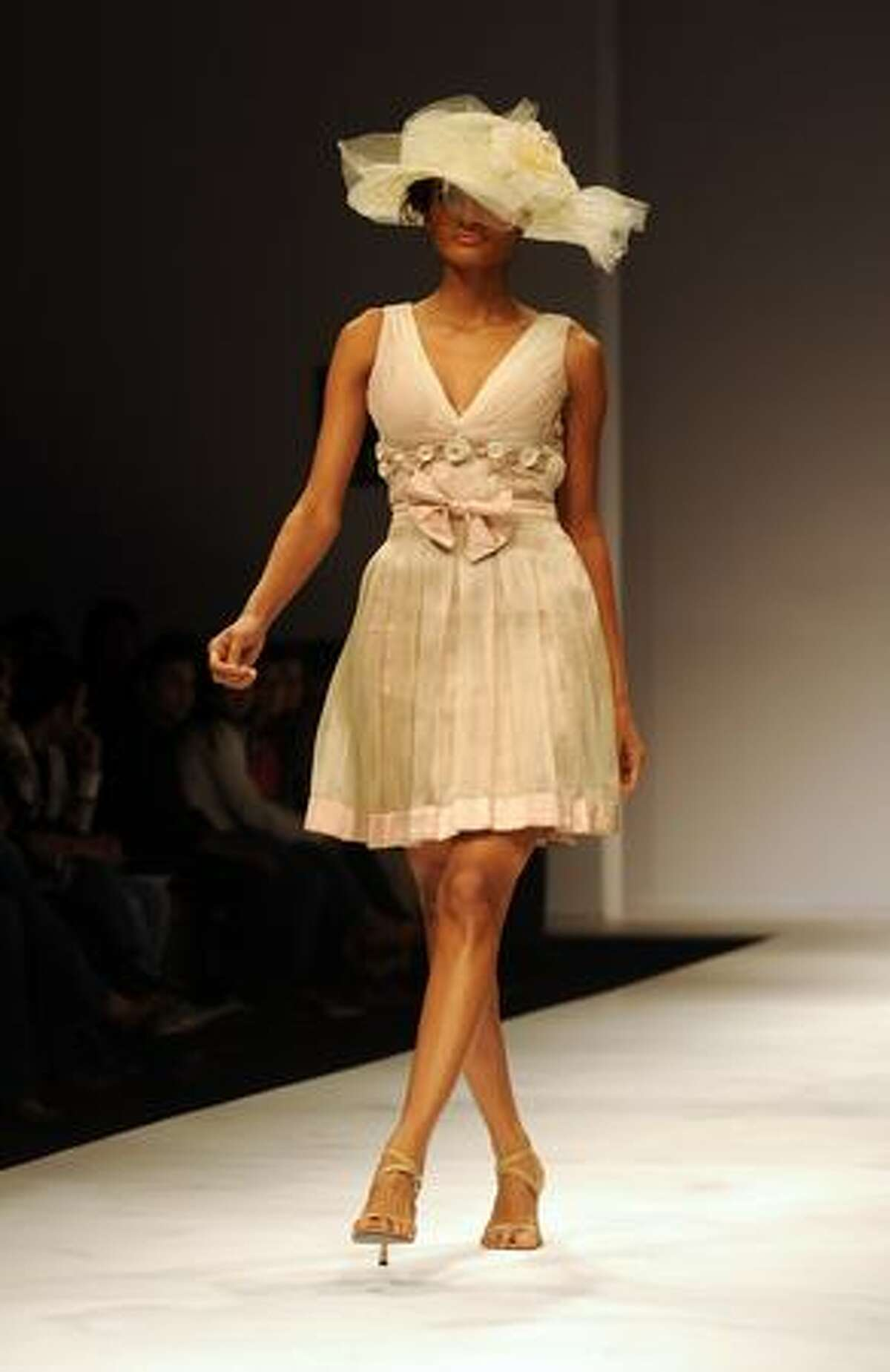 A model presents a creation by Indian designer Nikhita Tandon during the Wills India Fashion Week (WIFW) Spring Summer 2010 in New Delhi.