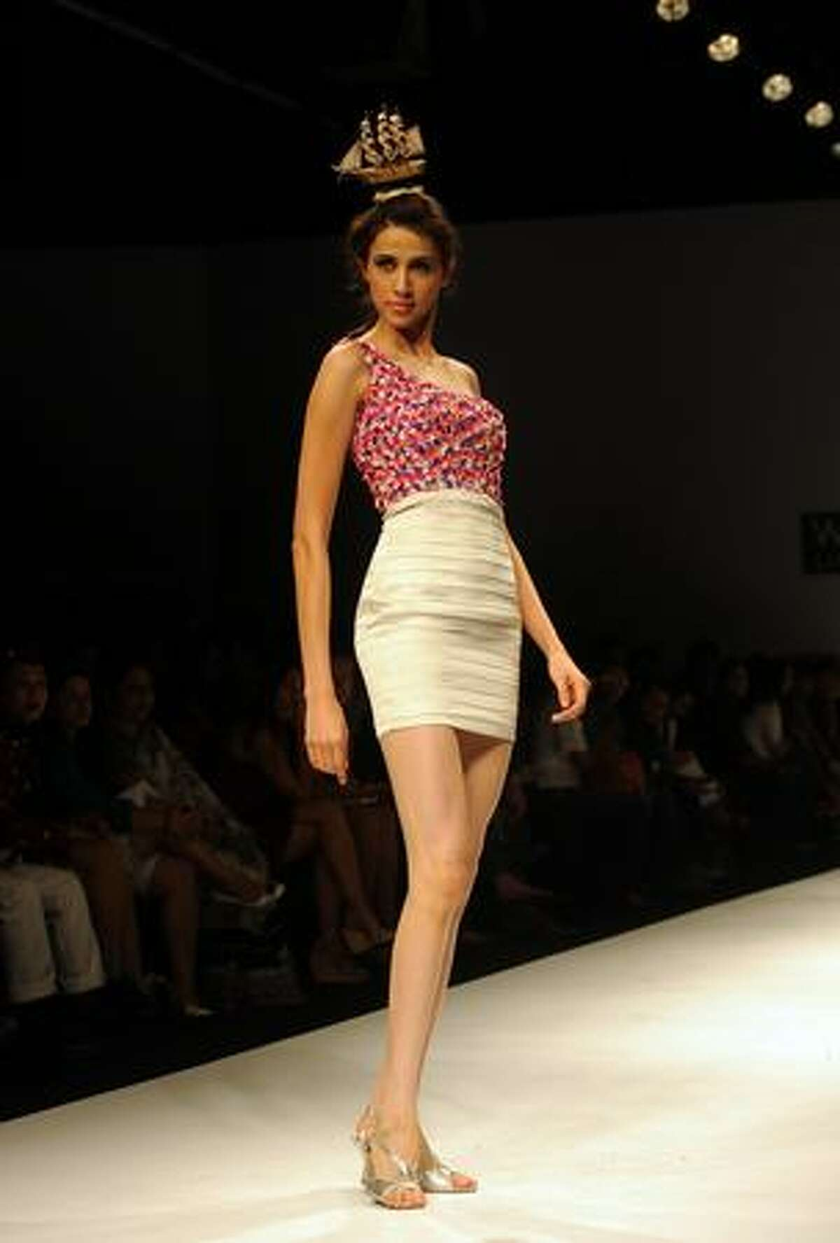 A model presents a creation by Indian designer Umesh Vashisht during the Wills India Fashion Week (WIFW) Spring Summer 2010 in New Delhi.