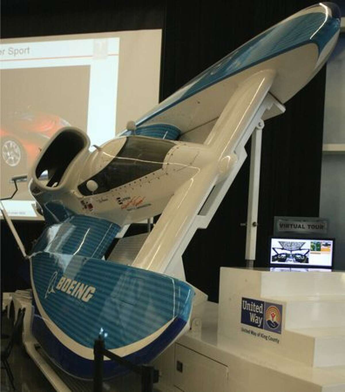 Boeing biofuel hydroplane U-787 on display inside the Future of Flight Aviation Center, in Mukilteo, on Earth Day.