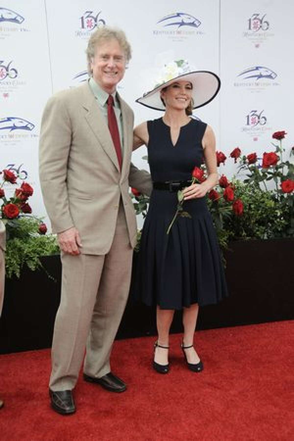 Actress Diane Lane and Director Randell Wallace attend the 136th Kentucky Derby in Louisville, Kentucky.