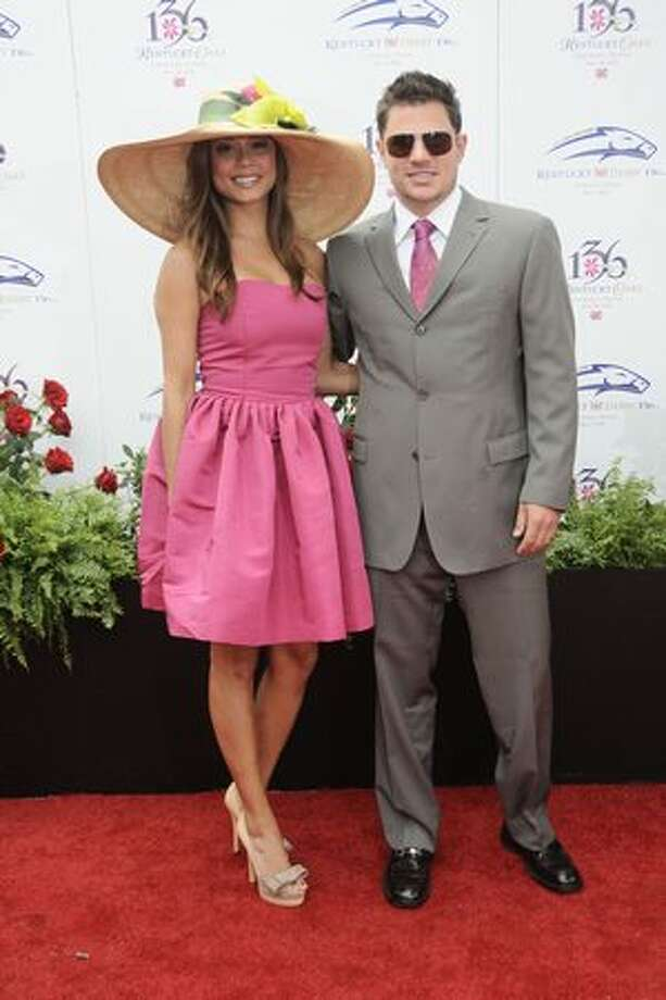 Nick Lachey and Vanessa Milano attend the 136th Kentucky Derby in Louisville, Kentucky. Photo: Getty Images