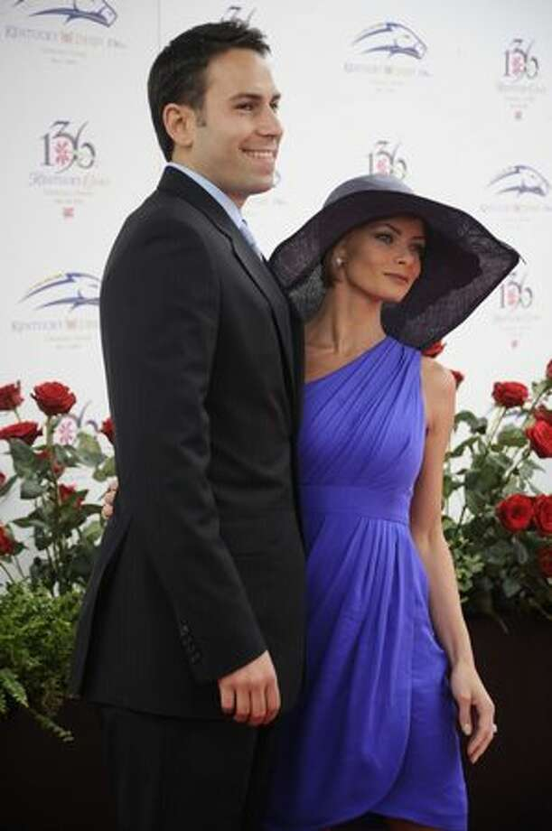 Jaime Pressly and Simran Singh attend the 136th Kentucky Derby in Louisville, Kentucky. Photo: Getty Images
