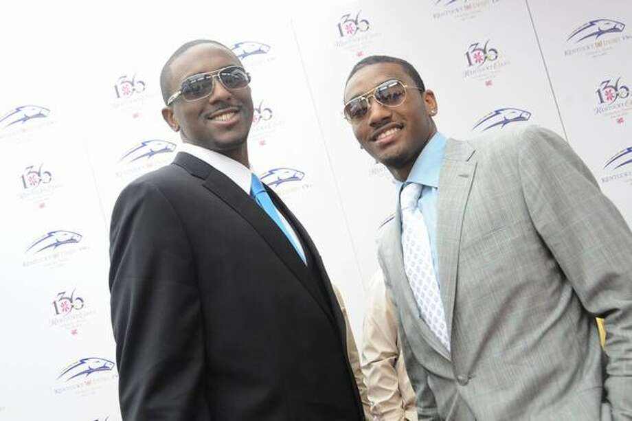 NBA first round draft picks Patrick Patterson and John Wall attend the 136th Kentucky Derby in Louisville, Kentucky. Photo: Getty Images