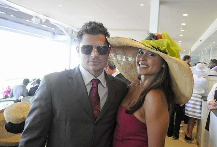 Nick Lachey and Vanessa Minnillo attend the Turf Club Suites at the 136th Kentucky Derby in Louisville, Kentucky. Photo: Getty Images
