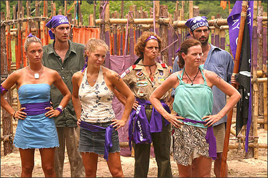 Nicole Delma, Ryan Opray, Michelle Tesauro, Lillian Morris, Trish Dunn and Burton Roberts of the Outcast tribe during the Pirate Prison Break immunity challenge. Photo: CBS