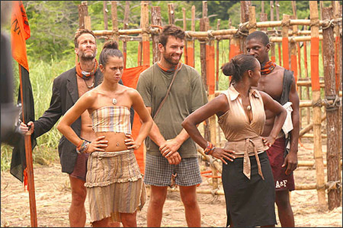 Andrew Savage, Darrah Johnson, Ryan Opray, Tijuana Bradley and Osten Taylor during the Pirate Prison Break immunity challenge.