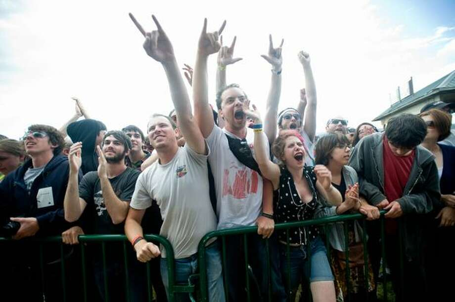 Japandroids perfoming at Sasquatch! Music Festival on Monday. Photo: Chona Kasinger, Seattlepi.com
