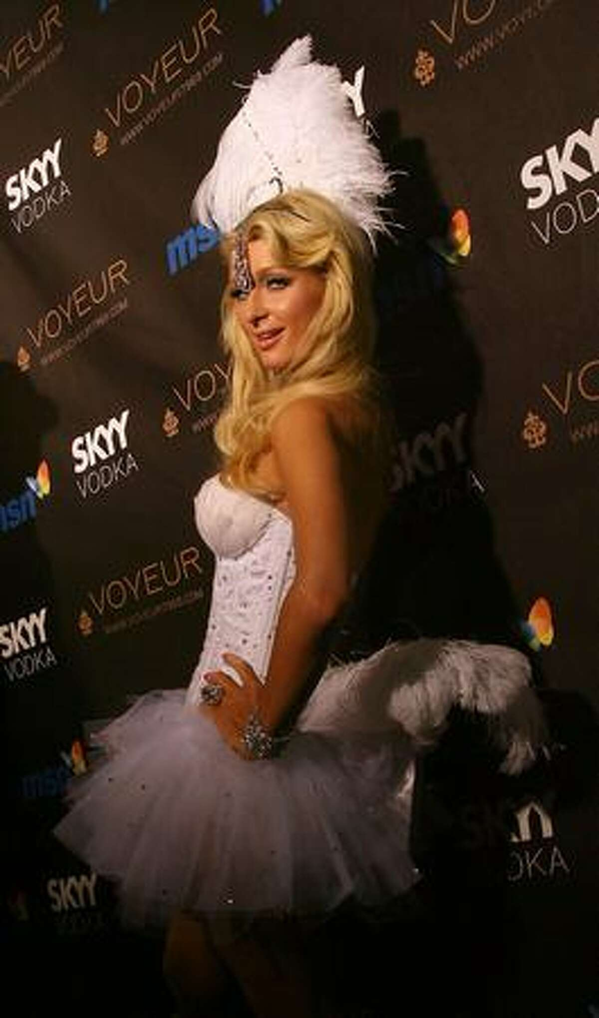 Paris Hilton arrives at the Heidi Klum's 10th Annual Halloween Party in Los Angeles, California.