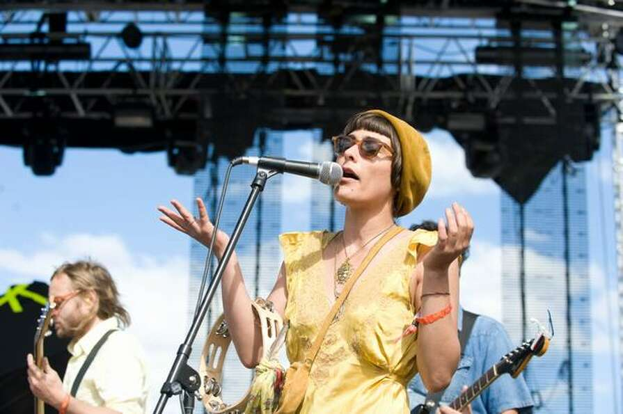 Edward Sharpe and the Magnetic Zeros performing at Sasquatch! Music Festival on Saturday.