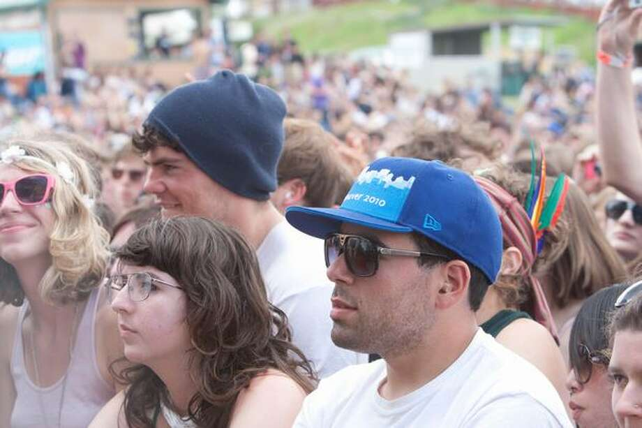 Attendees watch as Phantogram performs at the Sasquatch! Music Festival on Monday. Photo: Humberto Martinez, Seattlepi.com
