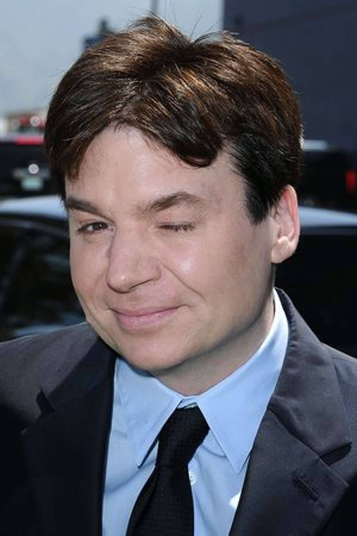 """Actor Mike Myers arrives at the premiere of DreamWorks Animation's """"Shrek Forever After"""" at Gibson Amphitheatre."""