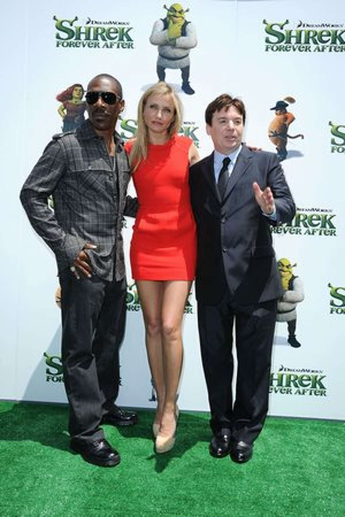 """Actors Eddie Murphy, Cameron Diaz and Mike Myers arrive at the premiere of DreamWorks Animation's """"Shrek Forever After"""" at Gibson Amphitheatre."""