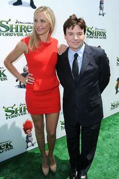 "Actors Cameron Diaz and Mike Myers arrive at the premiere of DreamWorks Animation's ""Shrek Forever After"" at Gibson Amphitheatre. Photo: Getty Images"