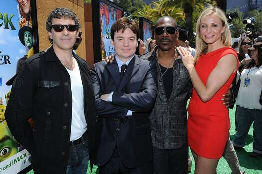 "Actors Antonio Banderas, Mike Myers, Eddie Murphy and Cameron Diaz arrive at the premiere of DreamWorks Animation's ""Shrek Forever After"" at Gibson Amphitheatre. Photo: Getty Images"