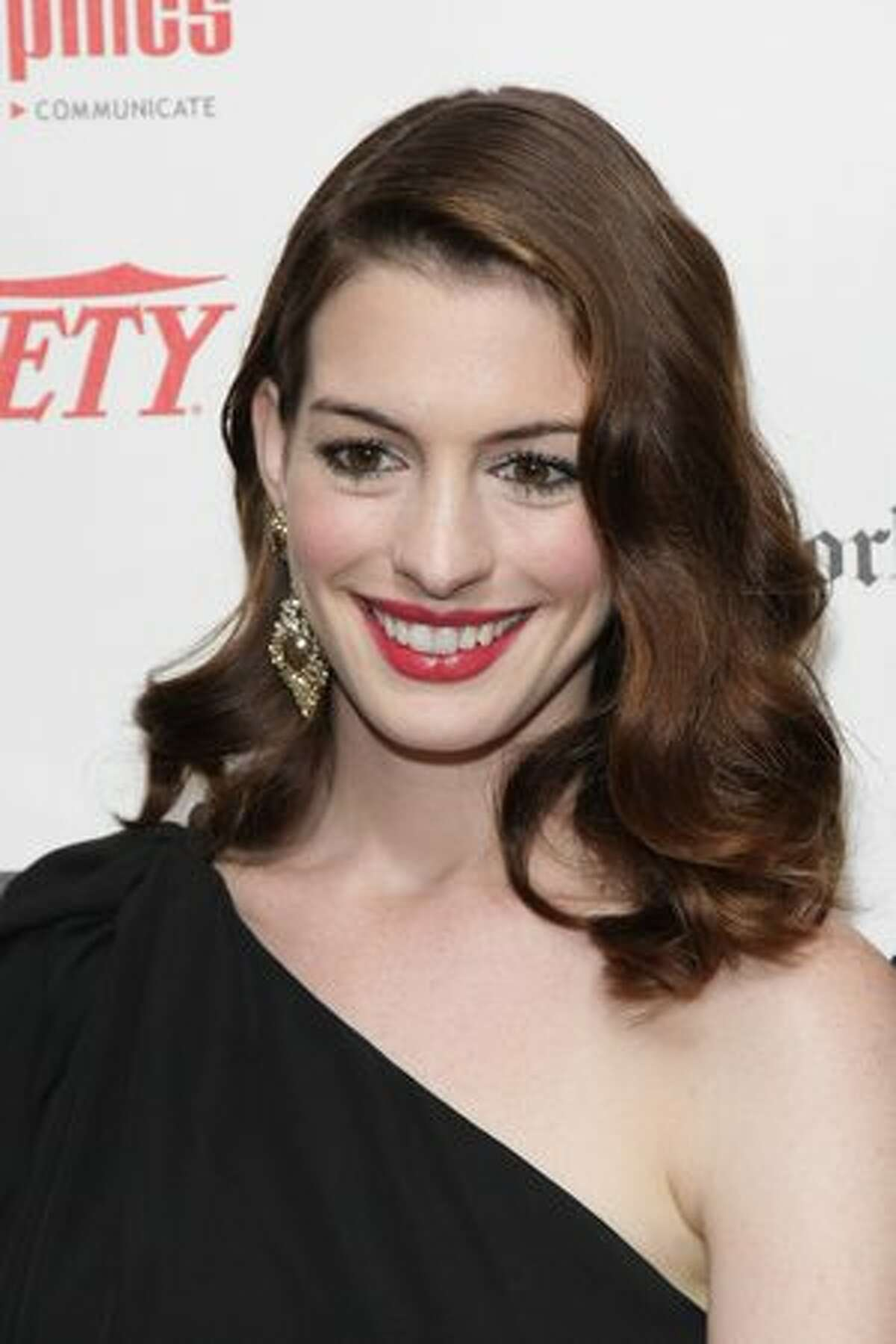 Actress Anne Hathaway arrives at the 55th Annual Drama Desk Awards at FH LaGuardia Concert Hall at Lincoln Center.