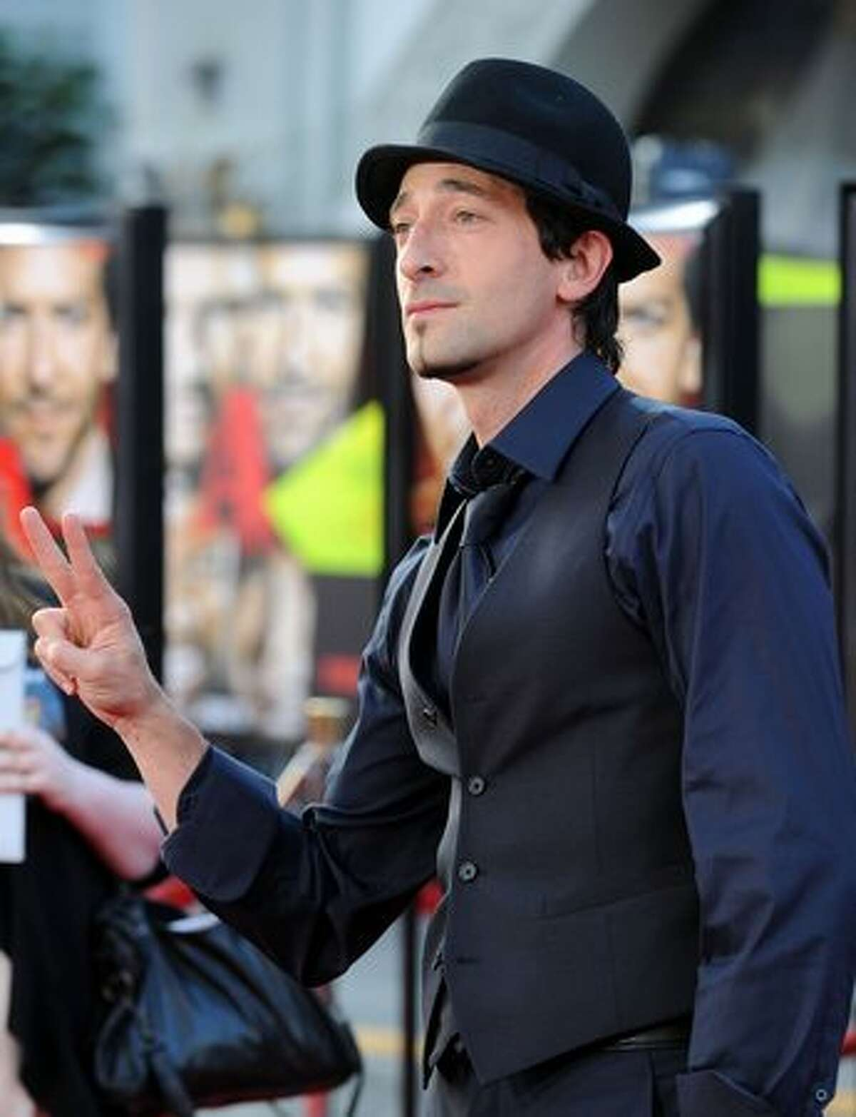 Actor Adrien Brody arrives at the premiere of 20th Century Fox's
