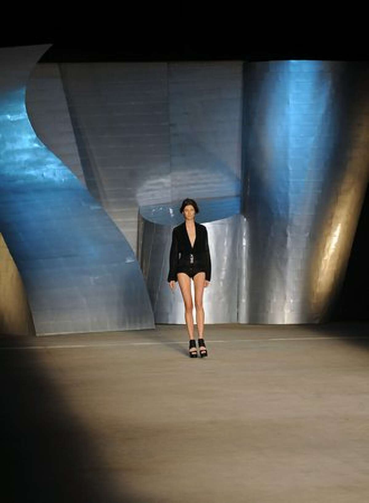 A model presents a creation by designer Patachou during the Rio Fashion Week, Summer 2010/2011 collection, in Rio de Janeiro.