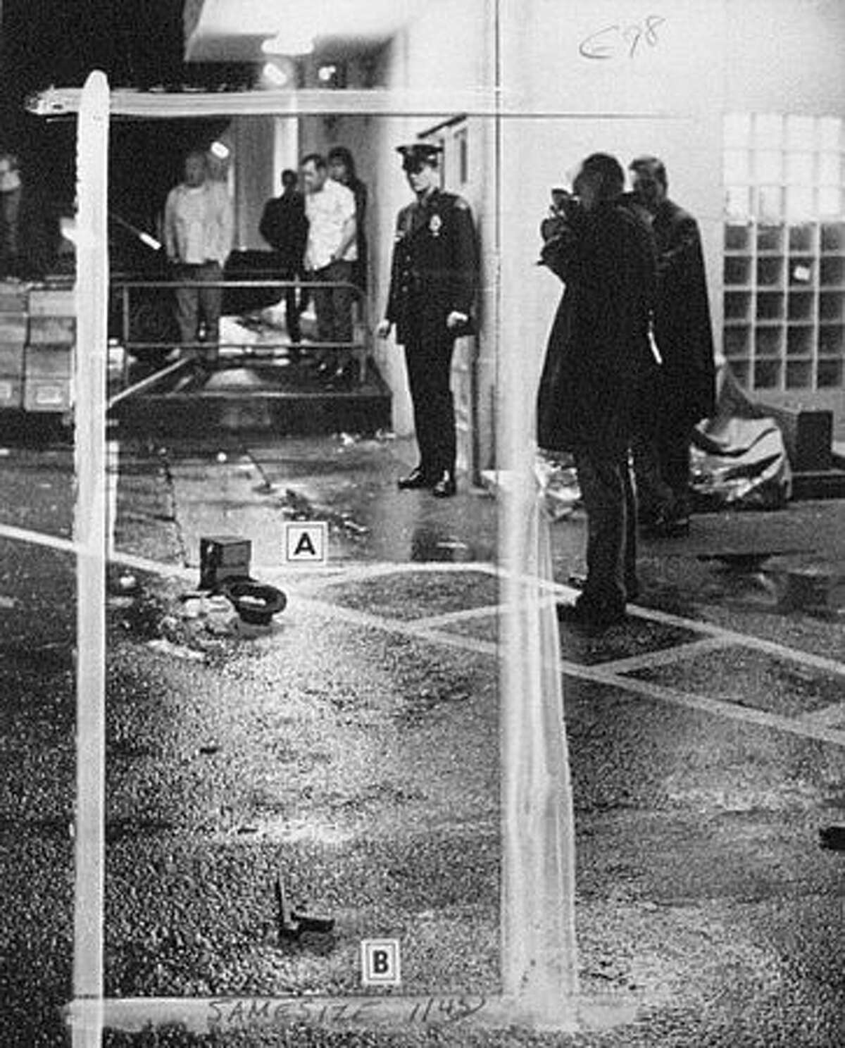 This is the scene where Seattle Police Officer Robert Allshaw was shot, Nov. 11, 1968 at the Pinehurst IGA grocery store.