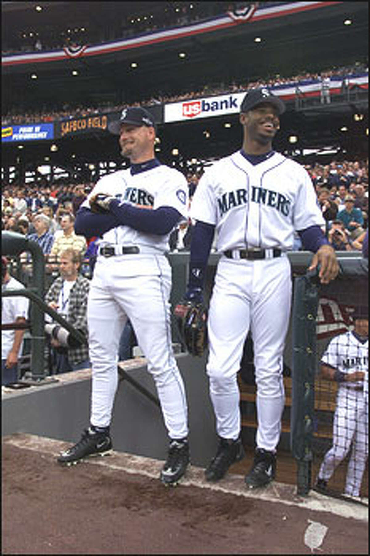 Jay Buhner and Ken Griffey, Jr. during the opening game of Safeco Field.