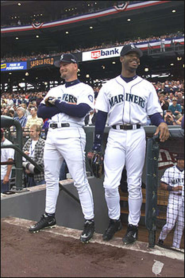 Jay Buhner and Ken Griffey, Jr. during the opening game of Safeco Field. Photo: Seattle Post-Intelligencer