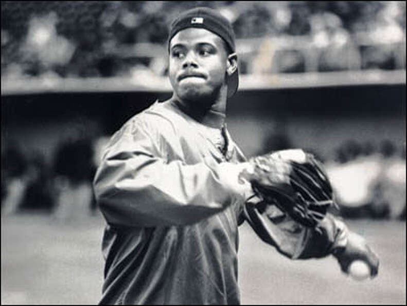 Ken Griffey Jr. practices in the Kingdome with a major league all-star team prior to its departure f