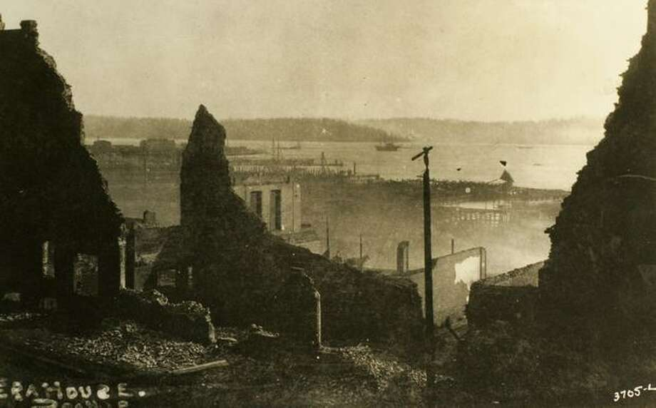 Ruins of Fry's Opera House from the Great Seattle Fire of 1889. (MOHAI/seattlepi.com file) Photo: P-I File