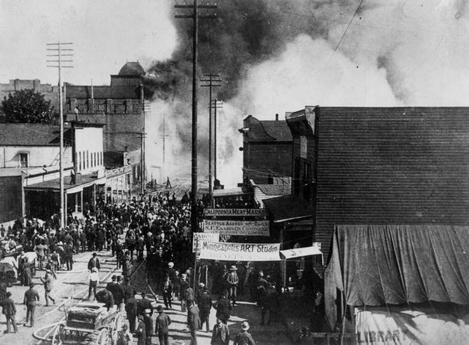 The Great Seattle Fire, which started the afternoon of June 6, 1889. This photo was taken on what's now First Avenue. The fire destroyed Seattle's business district - 29 square blocks including the railroad terminals and nearly all of the city's wharves. Photo: P-I File