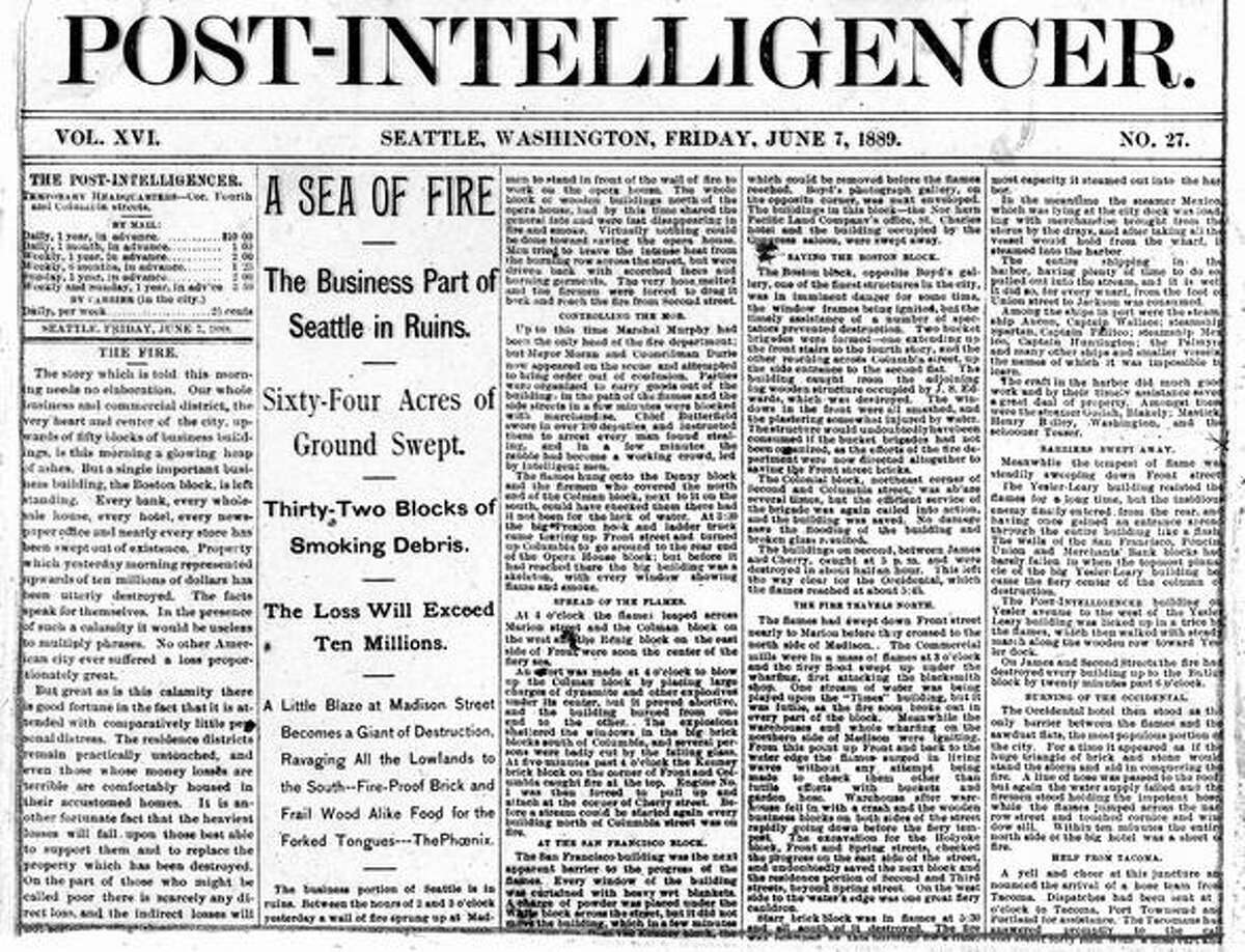 A close up photo of the Post-Intelligencer with a story of the Great Seattle Fire.