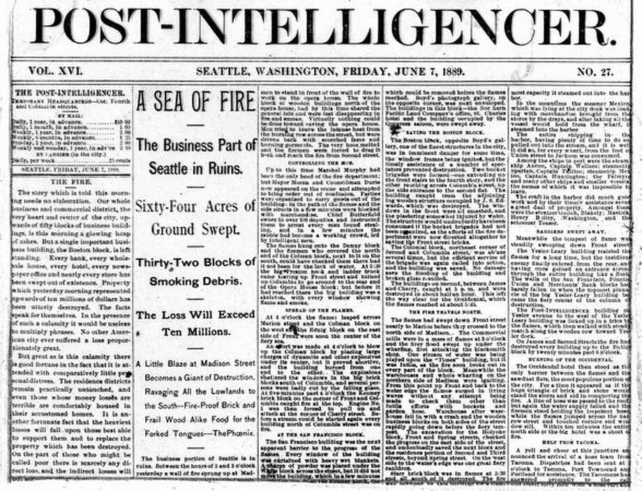 A close up photo of the Post-Intelligencer with a story of the Great Seattle Fire. Photo: P-I File