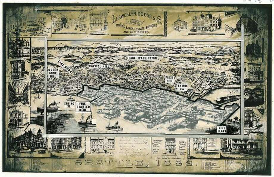 A map from 1889, showing details of how much The Great Seattle Fire destroyed. The map shows that it nearly took out half of the downtown area and all of Seattle's business district. Photo: P-I File