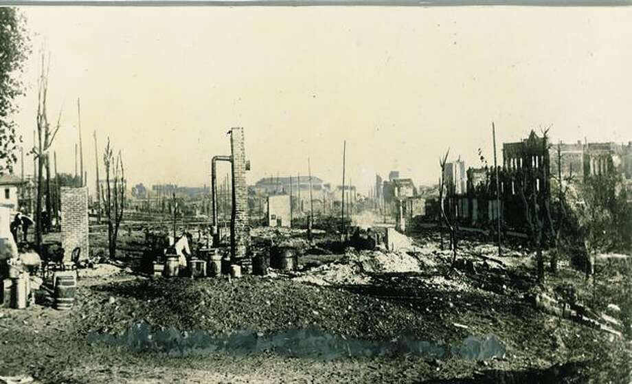 This picture was taken shortly after the great fire of 1889, looking toward Pioneer Square from Marion Street. Photo: P-I File