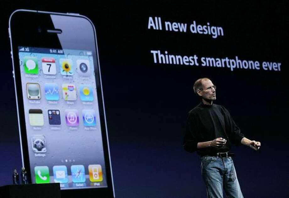 Apple CEO Steve Jobs announced the iPhone 4 at the 2010 Apple Worldwide Developers conference June 7, 2010, in San Francisco. Photo: Getty Images