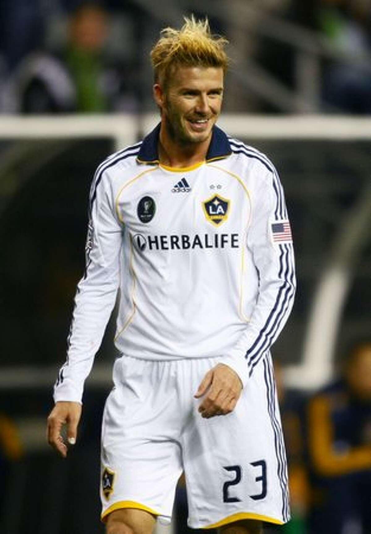 L.A. Galaxy star player David Beckham enjoys a lighter moment.
