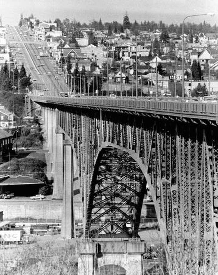 The Aurora Bridge on February 23, 1975. (Photo by Bob Miller/P-I) Photo: P-I File