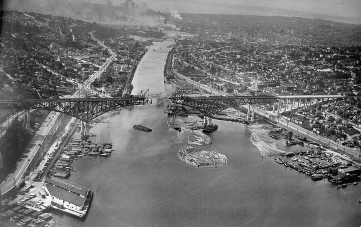 The Aurora Bridge, formally known as the George Washington Memorial Bridge, was dedicated on February 22, 1932 in observance of George Washington's 200th birthday. (E. A. French/P-I)