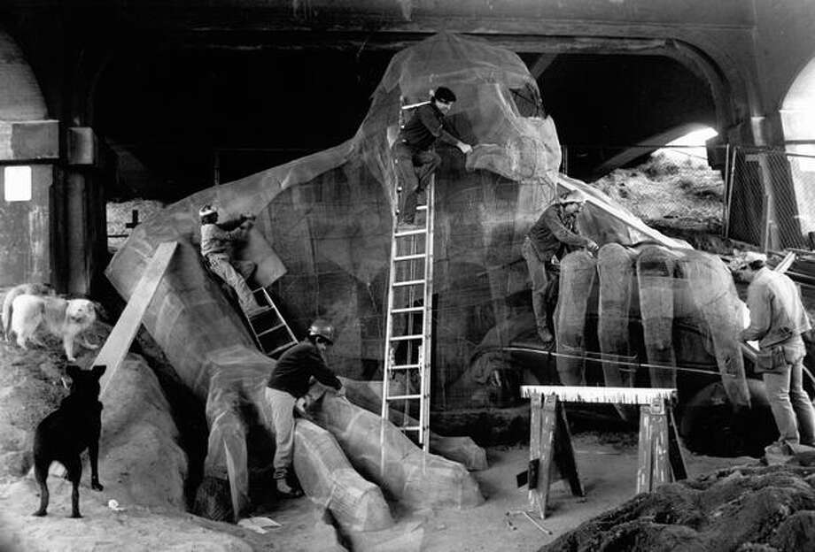 The Fremont Troll underneath the north side of the Aurora Bridge on October 25, 1990. (Photo by Phil Webber/P-I) Photo: P-I File