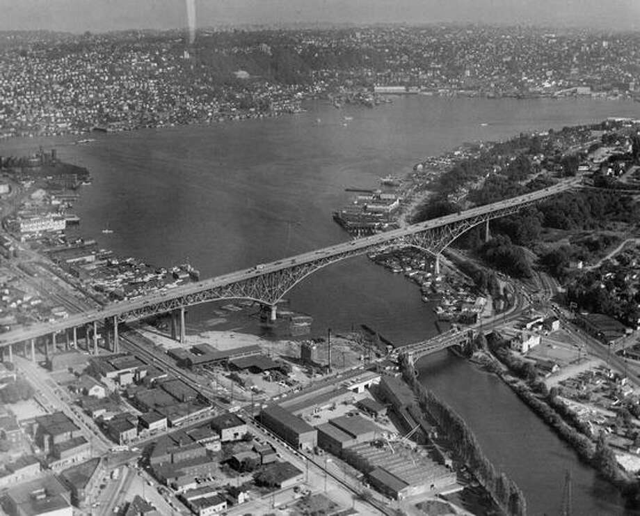 The Aurora and Fremont bridges, looking southeast, on July 11, 1953. Photo: P-I File